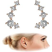 "PAVOI 14K Gold Plated ""Hearts & Arrows"" Simulated Diamond Ear Crawler - Cuff Earrings Hypoallergenic Stud Ear Climber Jackets"