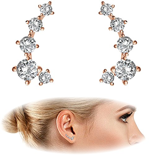 "PAVOI 14K Rose Gold Plated ""Hearts & Arrows"" Simulated Diamond Ear Crawler - Cuff Earrings Hypoallergenic Stud Ear Climber Jackets"