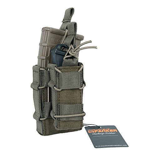 Excellent Elite Spanker Tactical MOLLE Double Stacker M4 Mag Pouch with Pistol Mag Pouch(Ranger Green) (Magazine Pouch Rifle)