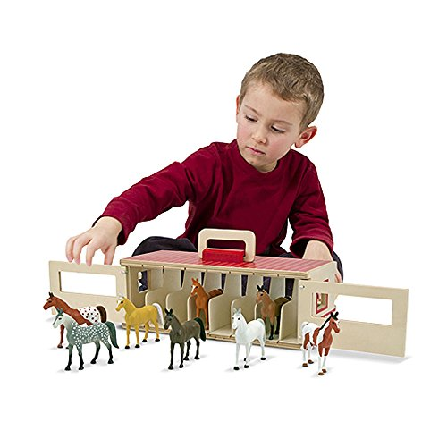51kx9Kk9FXL - Melissa & Doug Take-Along Show-Horse Stable Play Set With Wooden Stable Box and 8 Toy Horses
