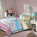 4 Piece Kids Puppy Dog Comforter Full Queen Set, Cute Adorable Playful Pup Dogs Bedding, Children Fun Paw Print Love Doggies Puppies Animal Themed, Multi Horizontal Stripe Pattern, Pink Yellow Purple