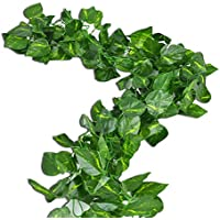 RURALITY 8 Ft Artificial Silk Greenery Chain Ivy Wedding Garland,Epipremnum Aureum, Pack of 2