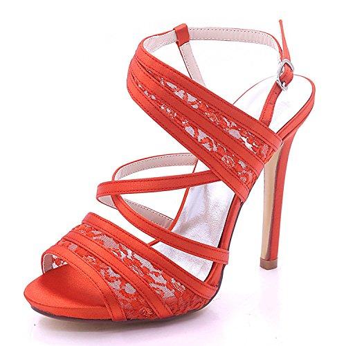 L@YC Chaussures de Mariage Pour Femmes Satin et Dentelle Peep Toe Talon Haut 7216-07 Nuptiale Multicolore Grande Taille red