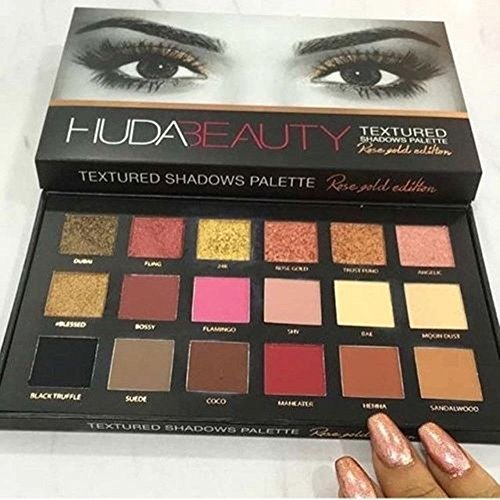 [Instock! NEW 18 Colors Beauty Eyeshadow Rose Gold Textured Pallete Make up Eye shadow Palette] (Making Elf Costume)