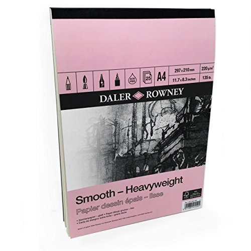 - Daler Rowney - Smooth Heavyweight Sketchbook - 220gsm - 25 Pages - A4 Portrait - Made in England