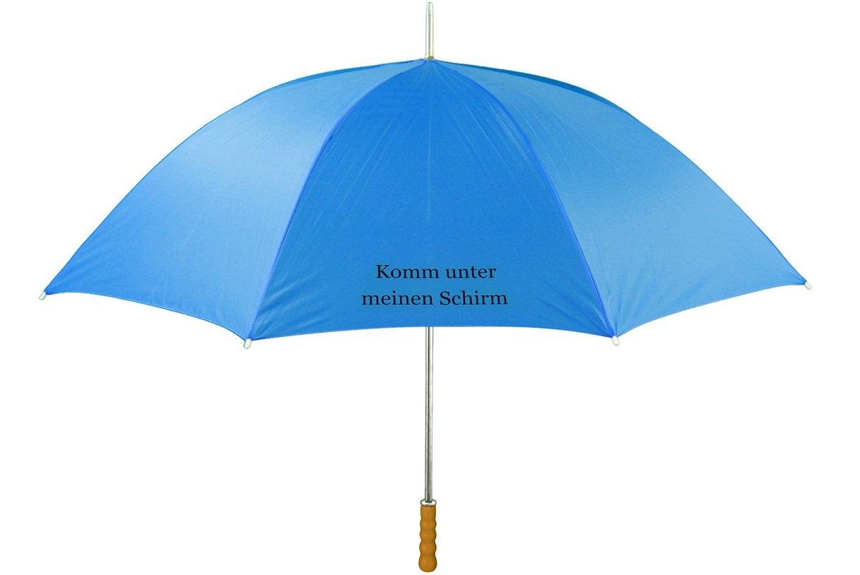 Regenschirm mit Name oder Text nach Wunsch, blau, großer Schirm individualisiert - alles Einzelstücke, Druck schwarz o. weiß; Mitteilung Text nach Bestellung Verkäufer kontaktieren