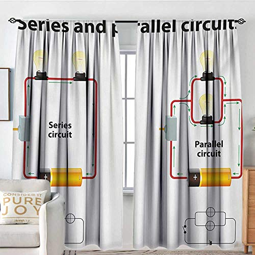 Series 12' Red Stitch - Print Pattern Curtains Educational,Series and Parallel Circuits Voltage Electric Science Equipment Print,Red Marigold Black,for Room Darkening Panels for Living Room, Bedroom 84