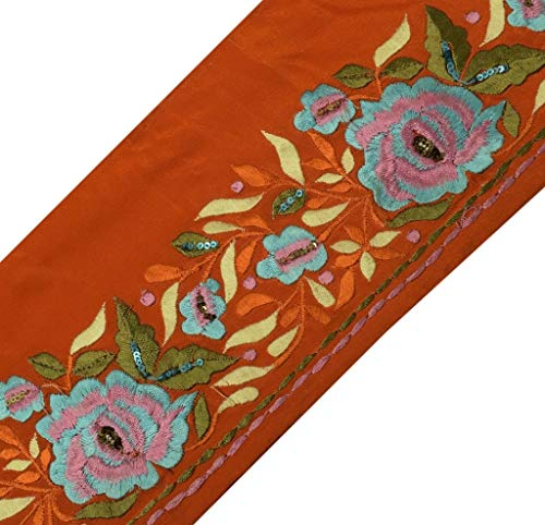 Vintage Sari Border Indian Craft Sewing Trim Embroidered Ribbon Lace Orange