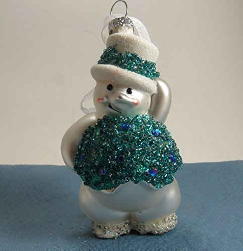 Snowman Mercury Glass Christmas Holiday Ornament with Gift Box Great Stocking Stuffer (Ornament Snowman Mercury Glass)