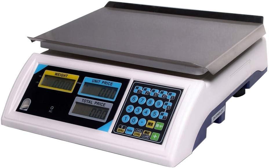 ZCXBHD Básculas Electronica Digital - Comercial Peso Valuación Balanza De Plataforma con LED Pantalla Retroiluminada, Acero Inoxidable Precisión Producir Escalas (Capacity : 6KG)