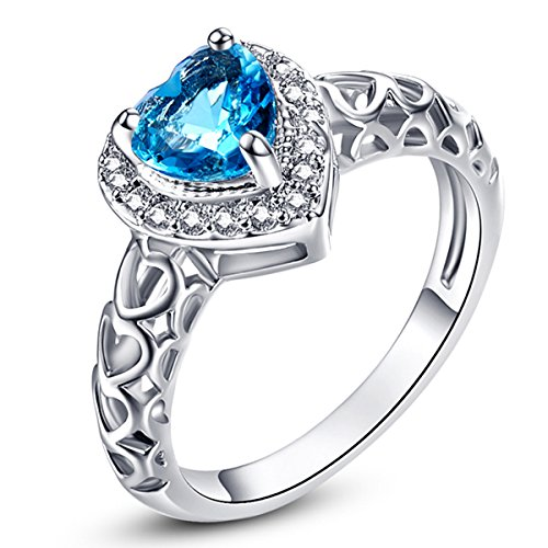 Silver Delicate Heart Blue Topaz December Birthstone Promise Filled Ring for Women (Silver Birthstone Ring)