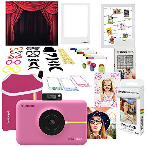 Polaroid Snap Touch Instant Digital Camera (Pink) Photo Booth Bundle with Neoprene Case -