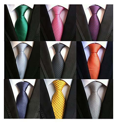 Welen Lot 9 PCS Classic Men's Tie Necktie Woven JACQUARD Neck Ties (Style 08)