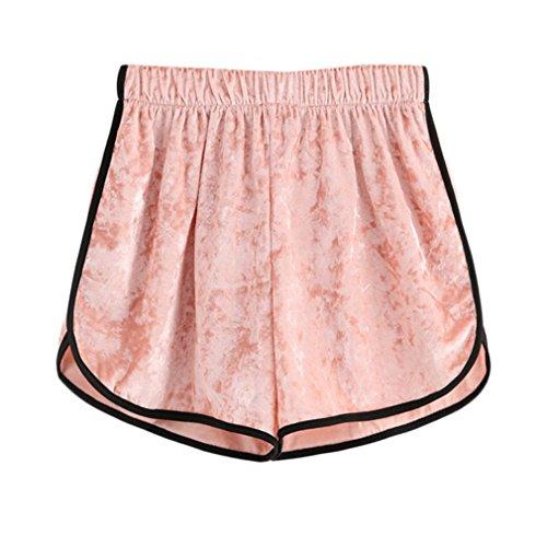 Rosa Donna Pink Vita Casual Velluto Alta A Larghi Pantaloncini Contrasto In Elastico qwYR0WPaxf