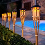 DDLBiz 2Pcs Solar Outdoor Waterproof Lights bamboo Lamp Garden Pathways Yard Patio