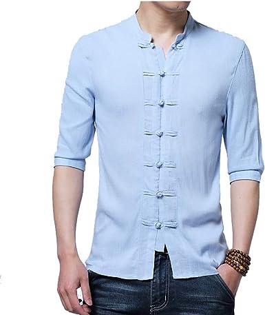 Camisas para hombre y hombre, ropa china tradicional para hombre, de media manga, de algodón, lino, estilo chino, kung fu tai chi tang, estilo tops: Amazon.es: Ropa y accesorios