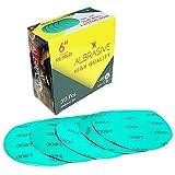 ALbrasives Premium Quality Velcro Hook Loop Sanding Discs 6 Inch No Holes, 50 Pack, Made of Aluminum Oxide, Green Film (P800 Grit)