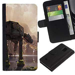 KLONGSHOP // Tirón de la caja Cartera de cuero con ranuras para tarjetas - En En Batalla - Samsung Galaxy S5 Mini, SM-G800 //