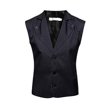 Sagton Men Button Casual Print Sleeveless Solid Jacket Coat British Button Suit Vest Blouse (M