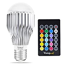 Yangcsl 10W A19 Remote Controlled Color Changing LED Light Bulb, RGB + Daylihgt White, 60W Incandescent Bulb Equivalent, 16 Color Choice, E26 Medium Screw Base