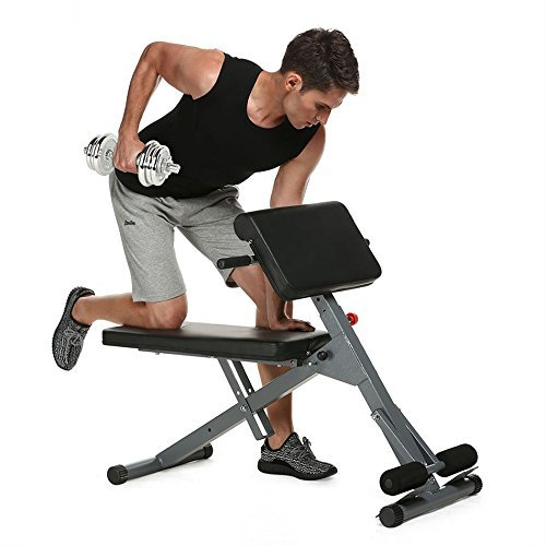 Fitness Abdominal Back Extension Bench Roman Chair, Adjustable Multi-Workout Stamina Pro Ab Core Strength Hyper Bench by Evokem