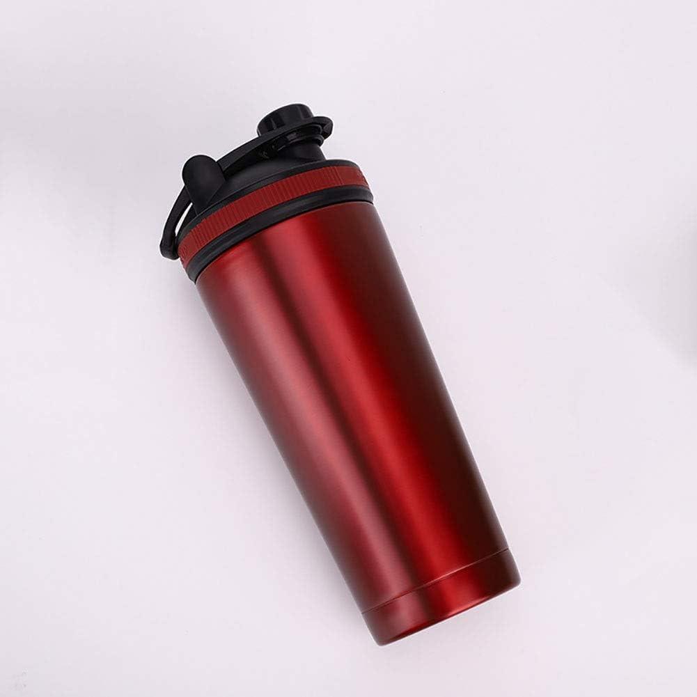 RUIXFFT Copa Portable de los Deportes, de Acero Inoxidable de Doble Aislamiento Shake Copa de Fitness/Vehículo/Camping (Color : Red)