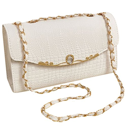 (Felice Womens Fashionable Textured Faux Leathe Flap Shoulder Bag Convertible Cross-Body Bag (white))