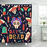 Emvency Shower Curtain Flower Mexican Happy Catrina Sugar Skull with Traditional Includes Mariachi Hat Chihuahua Dog and Food Shower Curtain 72 x 72 Inches Shower Curtain with Plastic Hooks