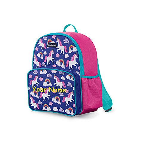 Personalized Crocodile Creek Kids Unicorn with Rainbows Pink and Purple Backpack Book Bag - 14 Inches