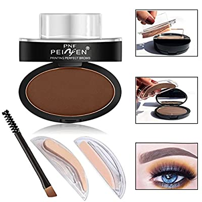 Spdoo Eyebrow Powder Waterproof Grey Brown Eye Brow Powder with Eyebrow Stencils Brush Tools with 2 Eyebrow Shapes