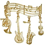 Musical Pin with Dangling Instruments, Vintage Jj, Quality Made in USA!, in Gold Tone with Matte Finish