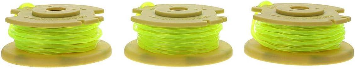 Cortabordes 3pcs 0,080 pulgadas amarillo Cadena de líneas de recorte de línea for Ryobi 12V 24V 40V Segadora