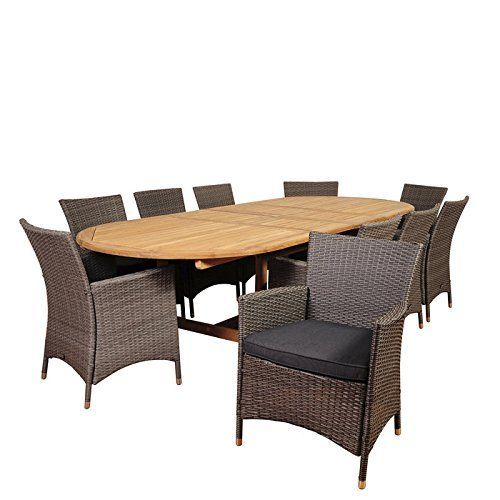 International Home Miami SC DIANDLX-10LIBKD-GR Amazonia Harrison Park 11 Piece Teak & Wicker Double-Extendable Oval Dining Set with Grey Cushions ()