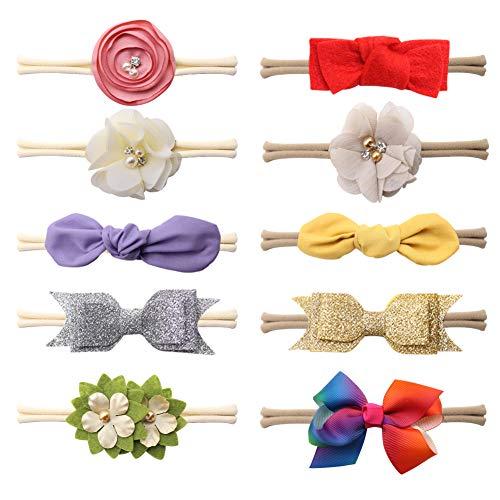 Baby Girl Stretchy Headband,10pcs Flower Rabbit Ears Bowknot Baby Hair Band