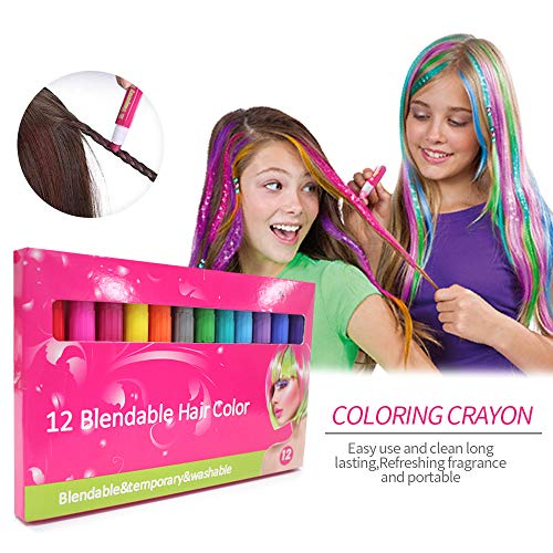 Eye Coloring Crayon - Temporary Bright Hair Chalk Set- Christmas Gifts Non-toxic Hair 12 Color Crayon Washable Hair Color-DIY Hair Dye Coloring Chalk Present Gifts for Girls Boys Kids in Birthday Party Christmas Cosplay