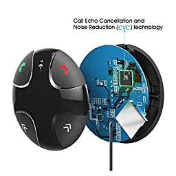SOWTECH Wireless Bluetooth Hands-Free FM Transmitter, Caller with Detachable Magnetic Mount and USB Charger