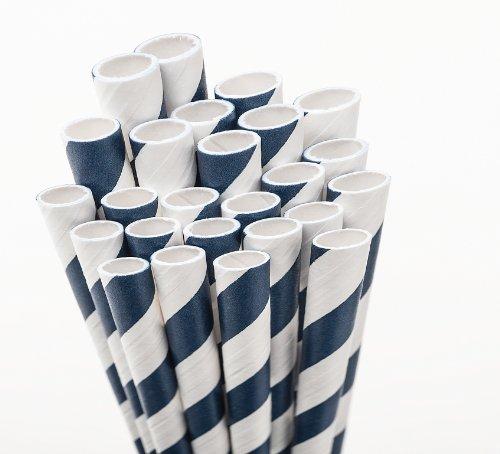 Aardvark 61520035 Paper Drinking Straw, 7/32'' Diameter x 7-3/4'' Length, Navy Blue Stripe (8 Boxes of 600) by Aardvark Straws (Image #2)