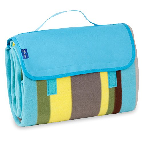 Yodo Outdoor Water-Resistant Picnic Blanket Tote,Fall Winter Blue Stripe