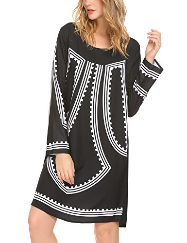 SE MIU Women's Printed Long Sleeve Loose Knee Length Straight - Miu Chart Size Miu