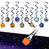 Outer Space Themed Party Decorations - Solar System Whirls, Rocket Centerpiece, Star Tablecover