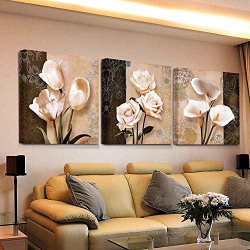 LlxhgリビングルームHd Printsポスター-40X40Cmx3なしフレームについてはウォールアートホームデコレーションフレームワークキャンバスの写真抽象チューリップの花の絵画