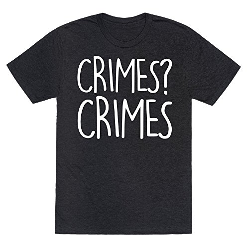 LookHUMAN Crimes? Crimes Heathered Black Medium Mens/Unisex Fitted Triblend Tee by