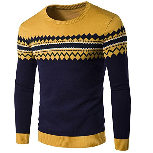 Leegor Men's Casual Stripe Sweater Warm Round Collar Knitting Pullover (L, Yellow)
