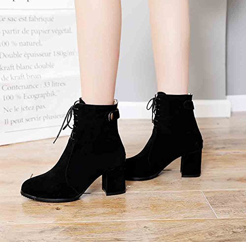 Easemax Womens Graceful Frosted Round Toe Back Zipper Lace Up Mid Block Heel Ankle Boots Black ffaaH