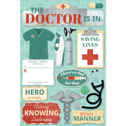 Single Page Scrapbook Layout - KAREN FOSTER 11587 Design Acid and Lignin Free Scrapbooking Sticker Sheet, The Doctor is In