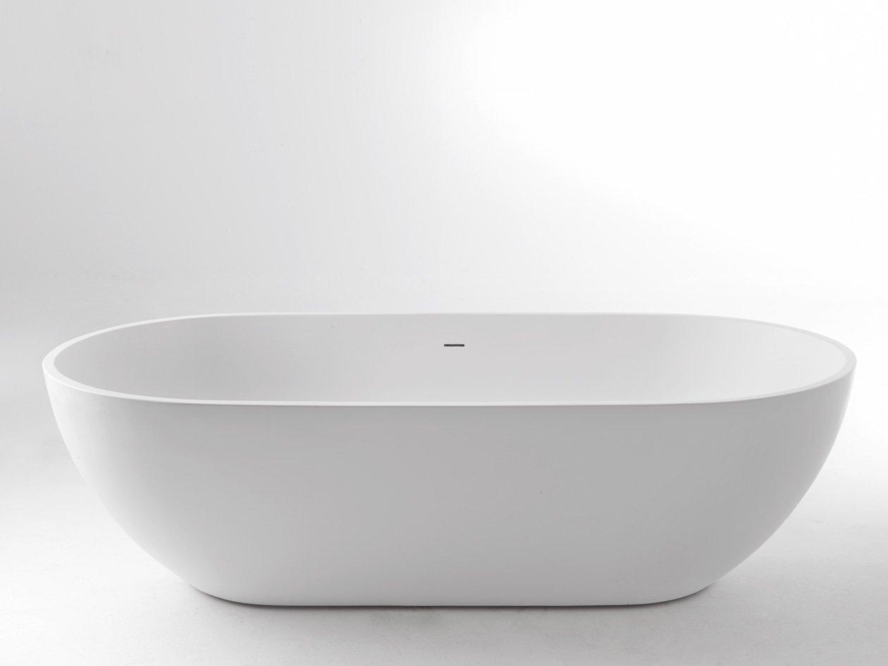 Freistehende Badewanne Pearl Mineralguß 178 x 90 mit Clic Clac ... | {Freistehende badewanne eckig 61}