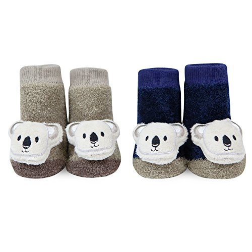 WADDLE Cozy Cute Koala Bear Rattle Baby Socks Navy Blue Khaki Beige Newborn Gift]()