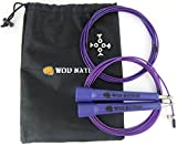wod gear - WOD Nation Speed Jump Rope - Blazing Fast Rope for Endurance training for Sports like Boxing, MMA, Martial Arts or Just Staying Fit - Fully Adjustable to Fit Men, Women and Children - PURPLE