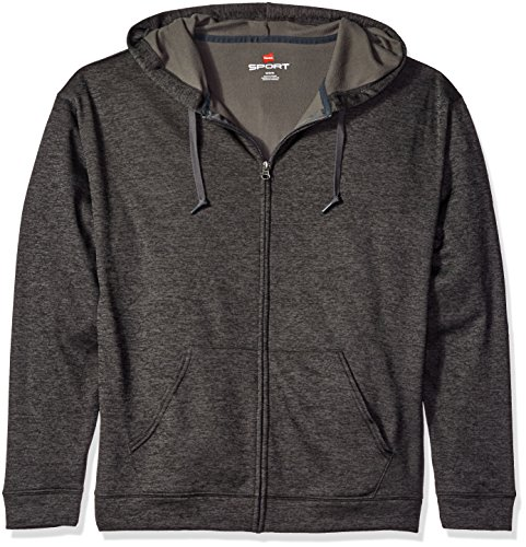 Hanes Men's Sport Performance Fleece Full-Zip Hoodie, Granite Heather, 2XL