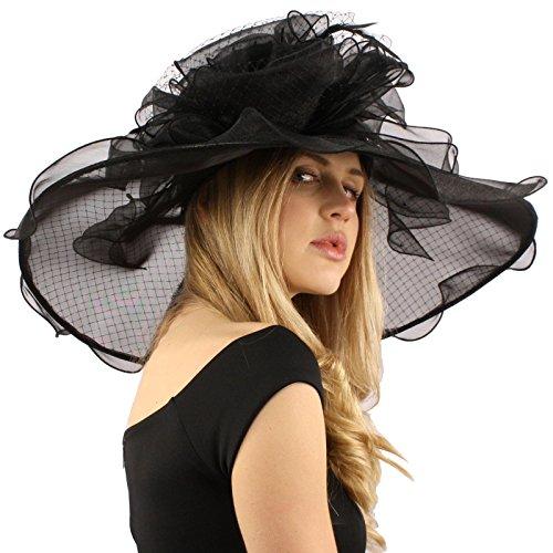 """Fancy Diamond Netting Kentucky Derby Floppy Ruffle Wide 7"""" Dress Church Hat"""